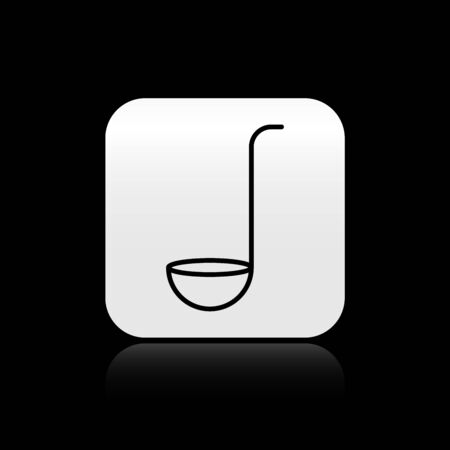 Black Kitchen ladle icon isolated on black background. Cooking utensil. Cutlery spoon sign. Silver square button. Vector Illustration