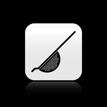 Black Kitchen colander icon isolated on black background. Cooking utensil. Cutlery sign. Silver square button. Vector Illustration
