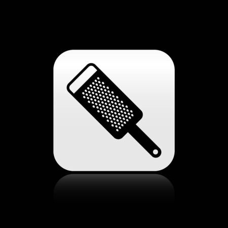 Black Grater icon isolated on black background. Kitchen symbol. Cooking utensil. Cutlery sign. Silver square button. Vector Illustration Çizim