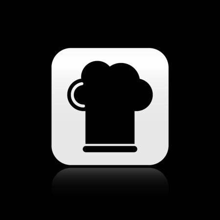 Black Chef hat icon isolated on black background. Cooking symbol. Cooks hat. Silver square button. Vector Illustration