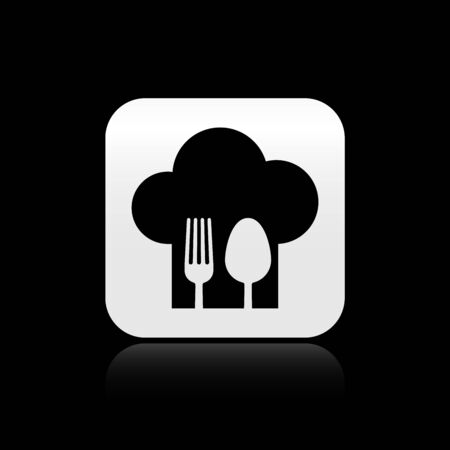 Black Chef hat with fork and spoon icon isolated on black background. Cooking symbol. Restaurant menu. Cooks hat. Silver square button. Vector Illustration