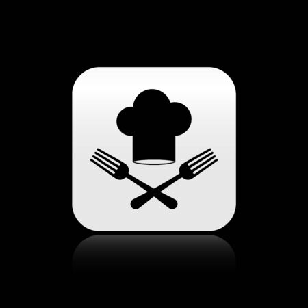 Black Chef hat and crossed fork icon isolated on black background. Cooking symbol. Restaurant menu. Cooks hat. Silver square button. Vector Illustration