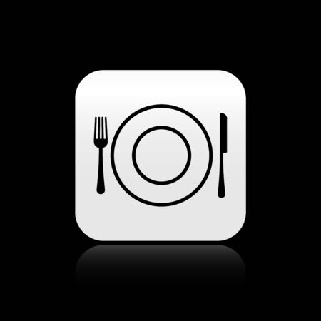 Black Plate, fork and knife icon isolated on black background. Cutlery symbol. Restaurant sign. Silver square button. Vector Illustration Çizim