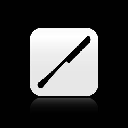 Black Knife icon isolated on black background. Cutlery symbol. Silver square button. Vector Illustration Çizim