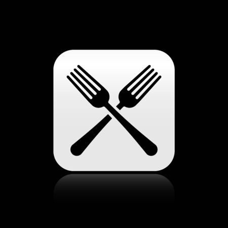 Black Crossed fork icon isolated on black background. Cutlery symbol. Silver square button. Vector Illustration
