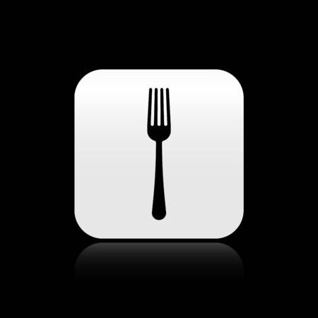 Black Fork icon isolated on black background. Cutlery symbol. Silver square button. Vector Illustration