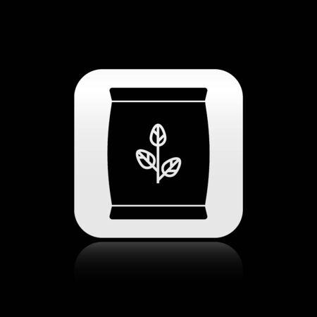 Schwarzes Düngemittelbeutelsymbol auf schwarzem Hintergrund isoliert. Silberner quadratischer Knopf. Vektorillustration Vektorgrafik