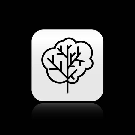 Black Tree icon isolated on black background. Forest symbol. Silver square button. Vector Illustration