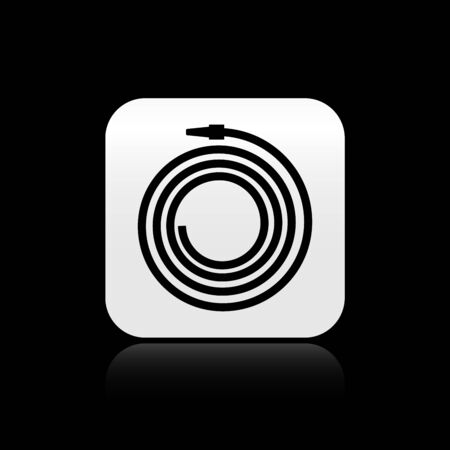 Black Garden hose or fire hose icon isolated on black background. Spray gun icon. Watering equipment. Silver square button. Vector Illustration