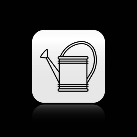 Black Watering can icon isolated on black background. Irrigation symbol. Silver square button. Vector Illustration