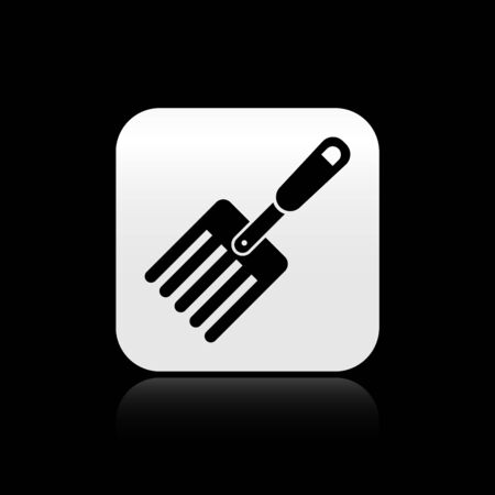 Black Garden fork icon isolated on black background. Pitchfork icon. Tool for horticulture, agriculture, farming. Silver square button. Vector Illustration Ilustração