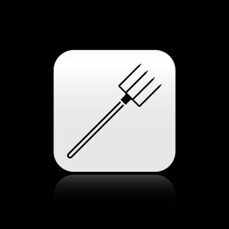 Black Garden pitchfork icon isolated on black background. Garden fork sign. Tool for horticulture, agriculture, farming. Silver square button. Vector Illustration