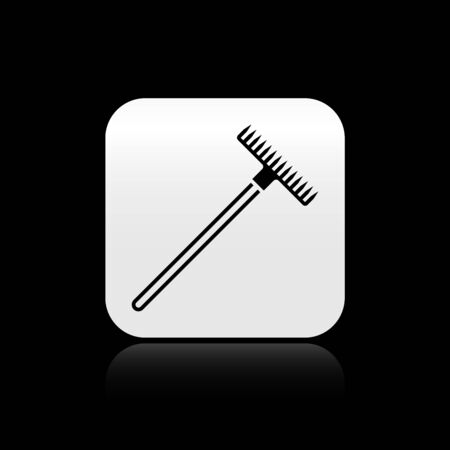 Black Garden rake icon isolated on black background. Tool for horticulture, agriculture, farming. Ground cultivator. Housekeeping equipment. Silver square button. Vector Illustration
