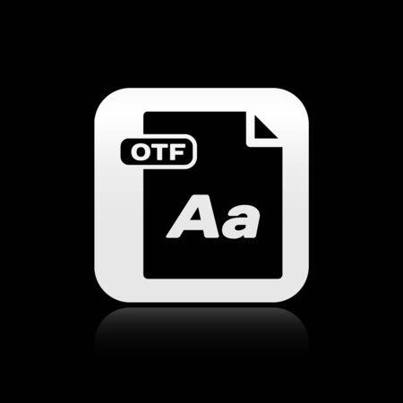 Black OTF file document. Download otf button icon isolated on black background. OTF file symbol. Silver square button. Vector Illustration