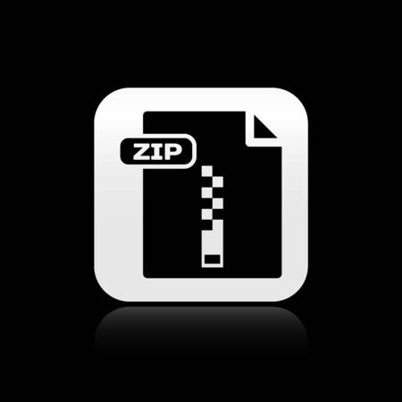 Black ZIP file document. Download zip button icon isolated on black background. ZIP file symbol. Silver square button. Vector Illustration