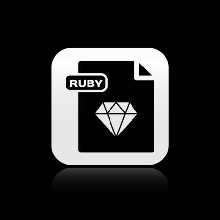 Black RUBY file document. Download ruby button icon isolated on black background. RUBY file symbol. Silver square button. Vector Illustration