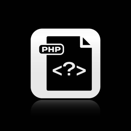 Black PHP file document. Download php button icon isolated on black background. PHP file symbol. Silver square button. Vector Illustration Ilustrace