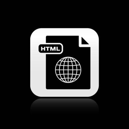 Black HTML file document. Download html button icon isolated on black background. HTML file symbol. Markup language symbol. Silver square button. Vector Illustration