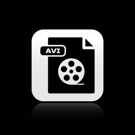 Black AVI file document. Download avi button icon isolated on black background. AVI file symbol. Silver square button. Vector Illustration
