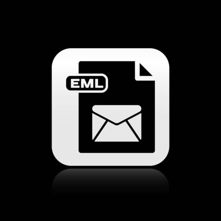 Black EML file document. Download eml button icon isolated on black background. EML file symbol. Silver square button. Vector Illustration 일러스트