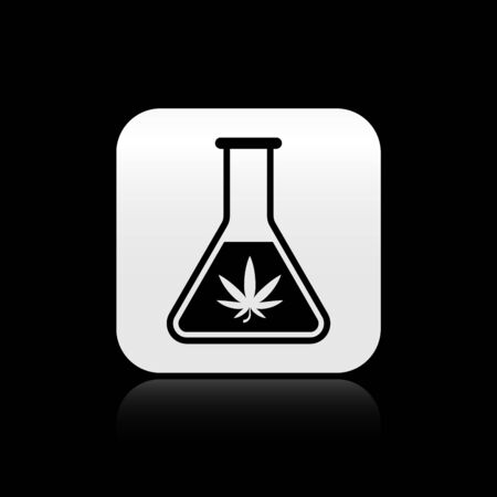 Black Chemical test tube with marijuana or cannabis leaf icon isolated on black background. Research concept. Laboratory CBD oil concept. Silver square button. Vector Illustration Illustration