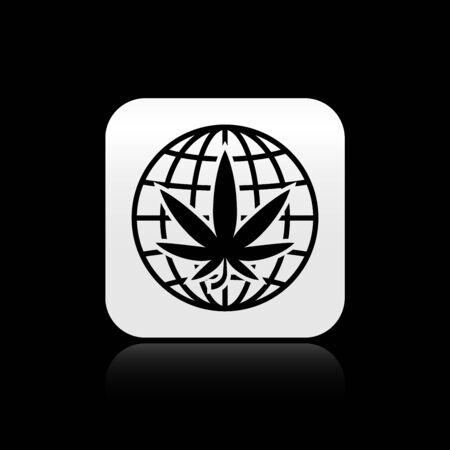 Black Legalize marijuana or cannabis globe symbol icon isolated on black background. Hemp symbol. Silver square button. Vector Illustration