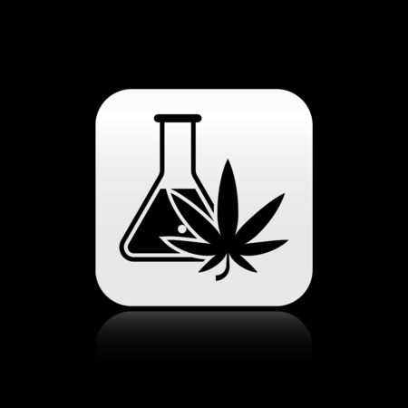 Black Chemical test tube with marijuana or cannabis leaf icon isolated on black background. Research concept. Laboratory CBD oil concept. Silver square button. Vector Illustration Çizim