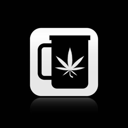 Black Cup tea with marijuana or cannabis leaf icon isolated on black background. Marijuana legalization. Hemp symbol. Silver square button. Vector Illustration Illustration