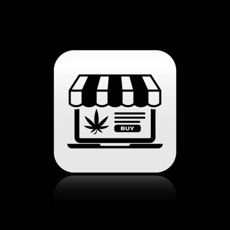 Black Laptop and medical marijuana or cannabis leaf icon isolated on black background. Online buying symbol. Supermarket basket. Silver square button. Vector Illustration