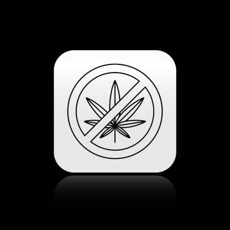 Black Stop marijuana or cannabis leaf icon isolated on black background. No smoking marijuana. Hemp symbol. Silver square button. Vector Illustration