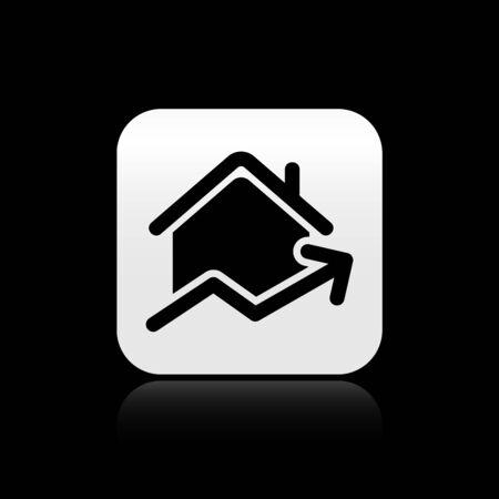 Black Rising cost of housing icon isolated on black background. Rising price of real estate. Residential graph increases. Silver square button. Vector Illustration