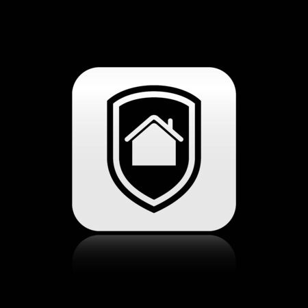 Black House under protection icon isolated on black background. Home and shield. Protection, safety, security, protect, defense concept. Silver square button. Vector Illustration  イラスト・ベクター素材