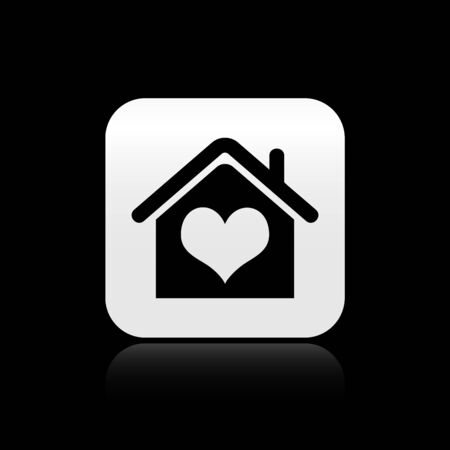 Black House with heart shape icon isolated on black background. Love home symbol. Family, real estate and realty. Silver square button. Vector Illustration Illustration
