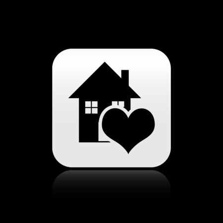 Black House with heart shape icon isolated on black background. Love home symbol. Family, real estate and realty. Silver square button. Vector Illustration Ilustração