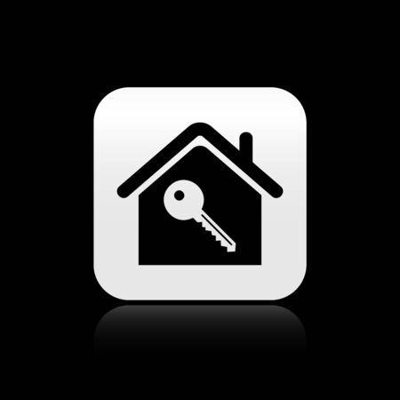 Black House with key icon isolated on black background. The concept of the house turnkey. Silver square button. Vector Illustration