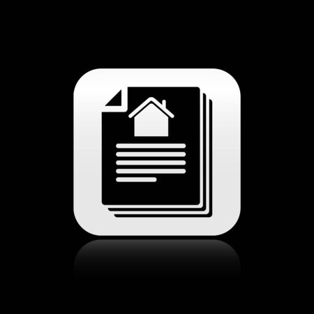 Black House contract icon isolated on black background. Contract creation service, document formation, application form composition. Silver square button. Vector Illustration