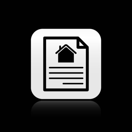 Black House contract icon isolated on black background. Contract creation service, document formation, application form composition. Silver square button. Vector Illustration Vector Illustratie
