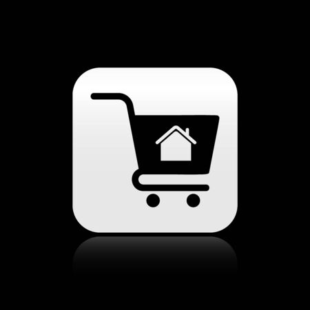 Black Shopping cart with house icon isolated on black background. Buy house concept. Home loan concept, rent, buying a property. Silver square button. Vector Illustration Illustration