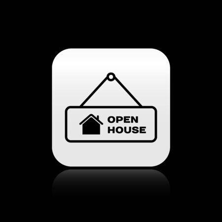 Black Hanging sign with text Open house icon isolated on black background. Signboard with text Open house. Silver square button. Vector Illustration