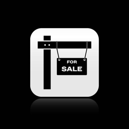 Black Hanging sign with text For Sale icon isolated on black background. Signboard with text For Sale. Silver square button. Vector Illustration Ilustração