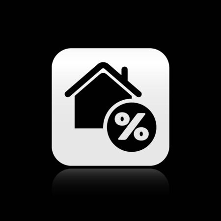 Black House with percant discount tag icon isolated on black background. House percentage sign price. Real estate home. Credit percentage symbol. Silver square button. Vector Illustration Banco de Imagens - 131356447