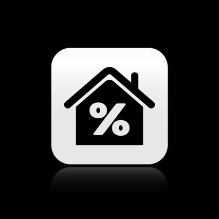 Black House with percant discount tag icon isolated on black background. House percentage sign price. Real estate home. Credit percentage symbol. Silver square button. Vector Illustration