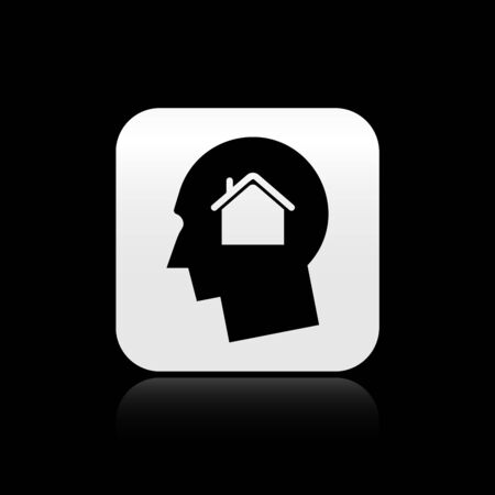 Black Man dreaming about buying a new house icon isolated on black background. Silver square button. Vector Illustration Çizim