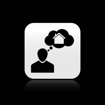Black Man dreaming about buying a new house icon isolated on black background. Silver square button. Vector Illustration Illustration