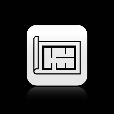 Black House plan icon isolated on black background. Silver square button. Vector Illustration
