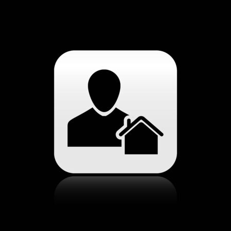 Black Realtor icon isolated on black background. Buying house. Silver square button. Vector Illustration