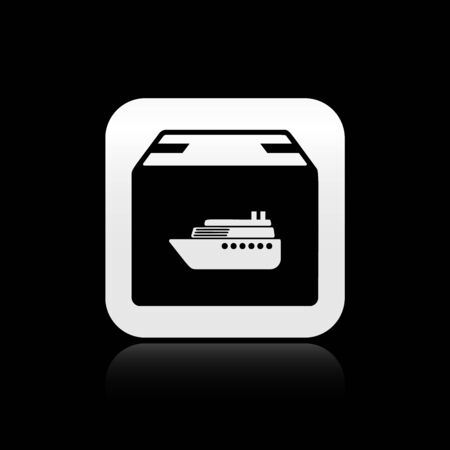 Black Cargo ship with boxes delivery service icon isolated on black background. Delivery, transportation. Freighter with parcels, boxes, goods. Silver square button. Vector Illustration