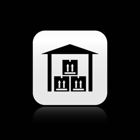 Black Warehouse icon isolated on black background. Silver square button. Vector Illustration