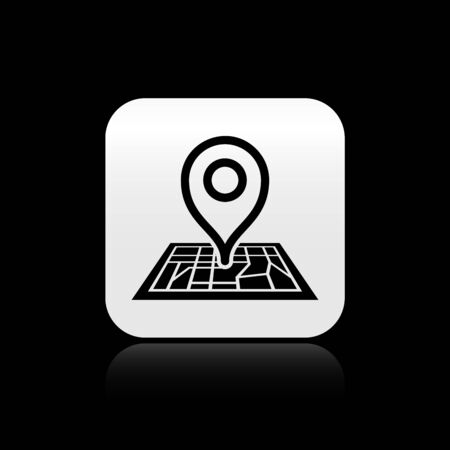 Black Placeholder on map paper in perspective icon isolated on black background. Silver square button. Vector Illustration