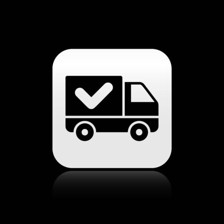 Black Delivery truck with check mark icon isolated on black background. Silver square button. Vector Illustration Illustration